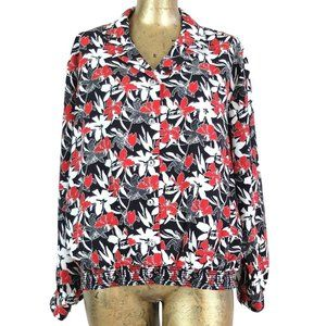 Vintage 80s Floral Long Sleeve Collared Blouse